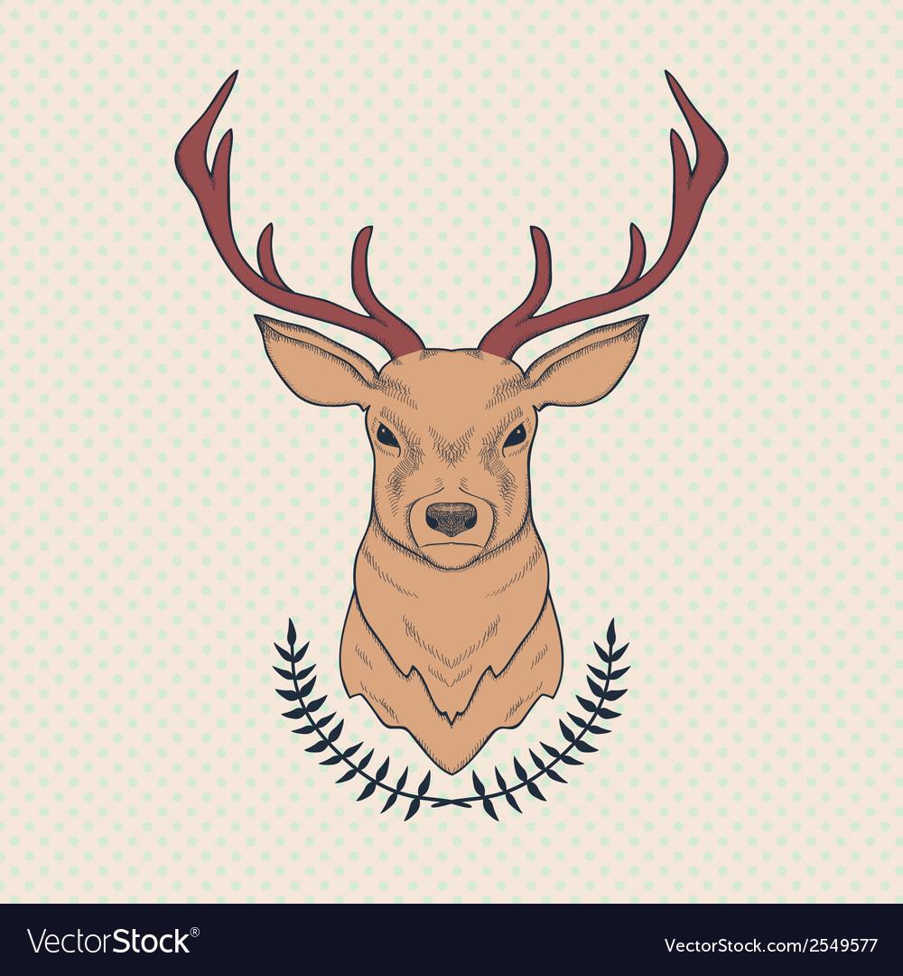 Hand drawn colorful of deer and laurel