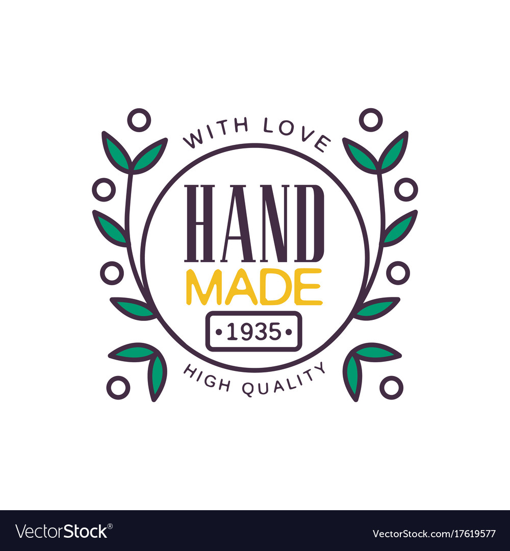 Handmade With Love Logo Template High Quality Vector Image