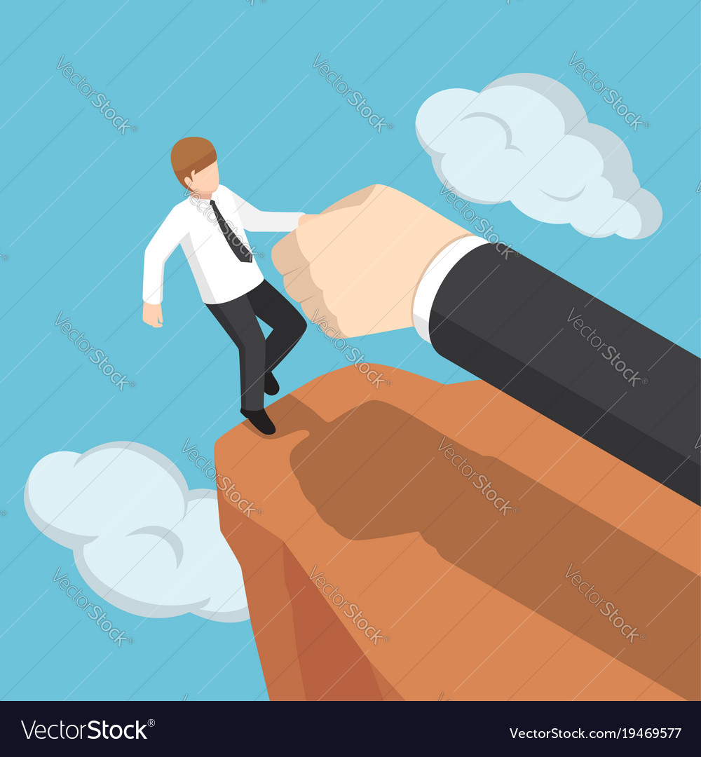 Isometric big hand help businessman not to fall vector image