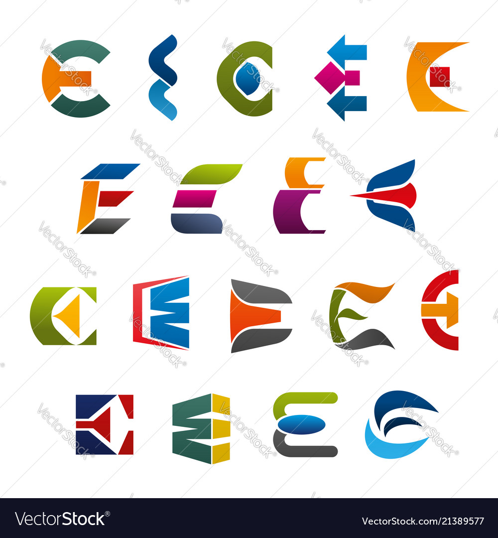 Letter e icons and symbols
