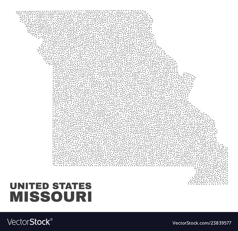 Missouri state map of dots Royalty Free Vector Image