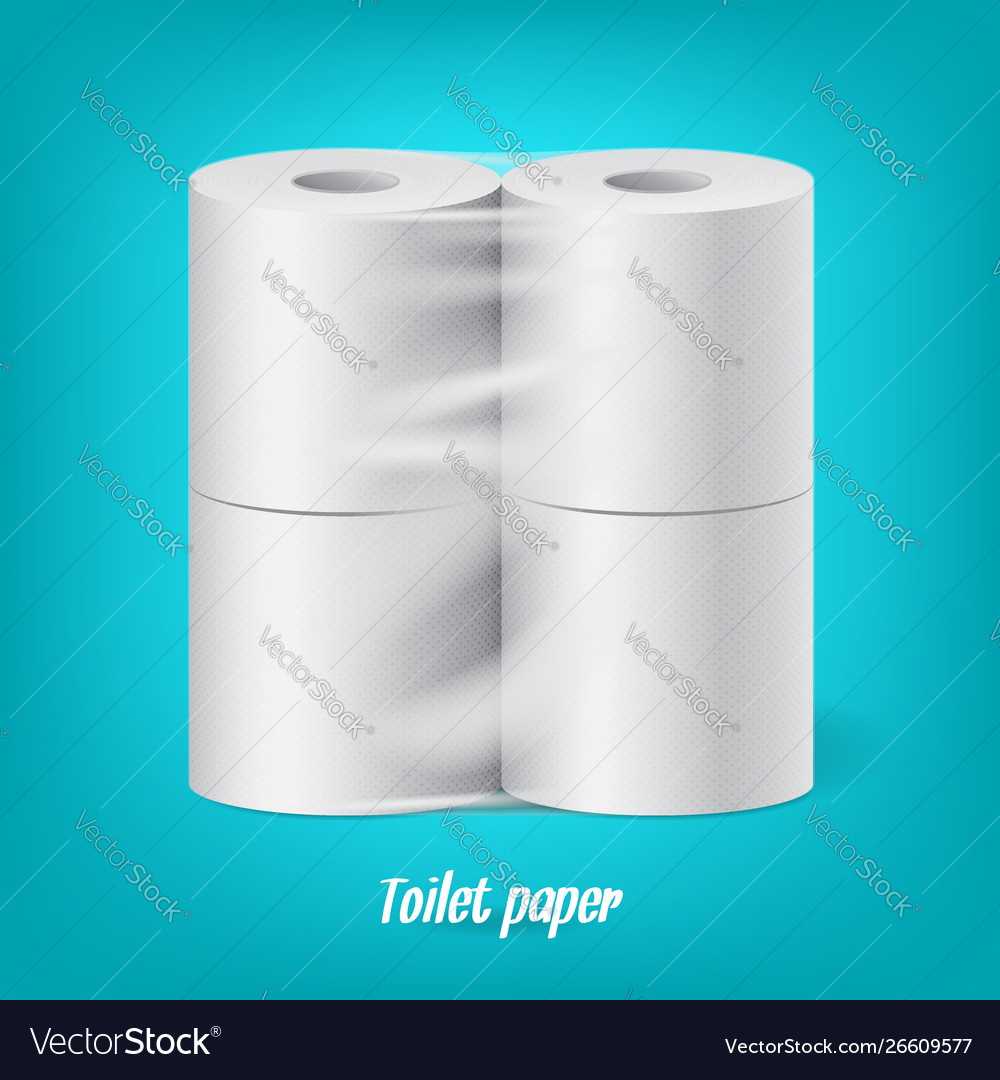 Realistic packaged toilet paper rolls isolated