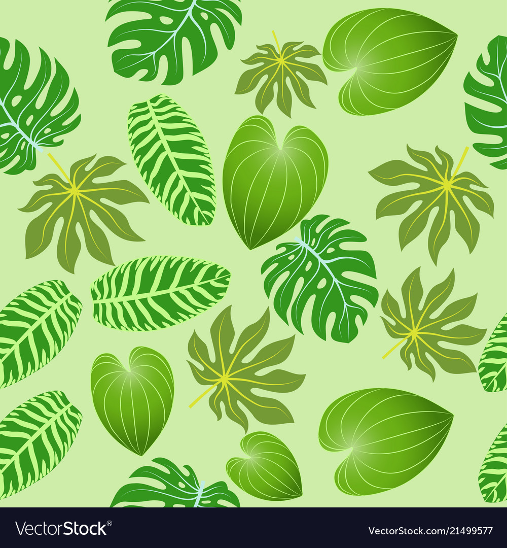 Seamless background of summer tropical leaves
