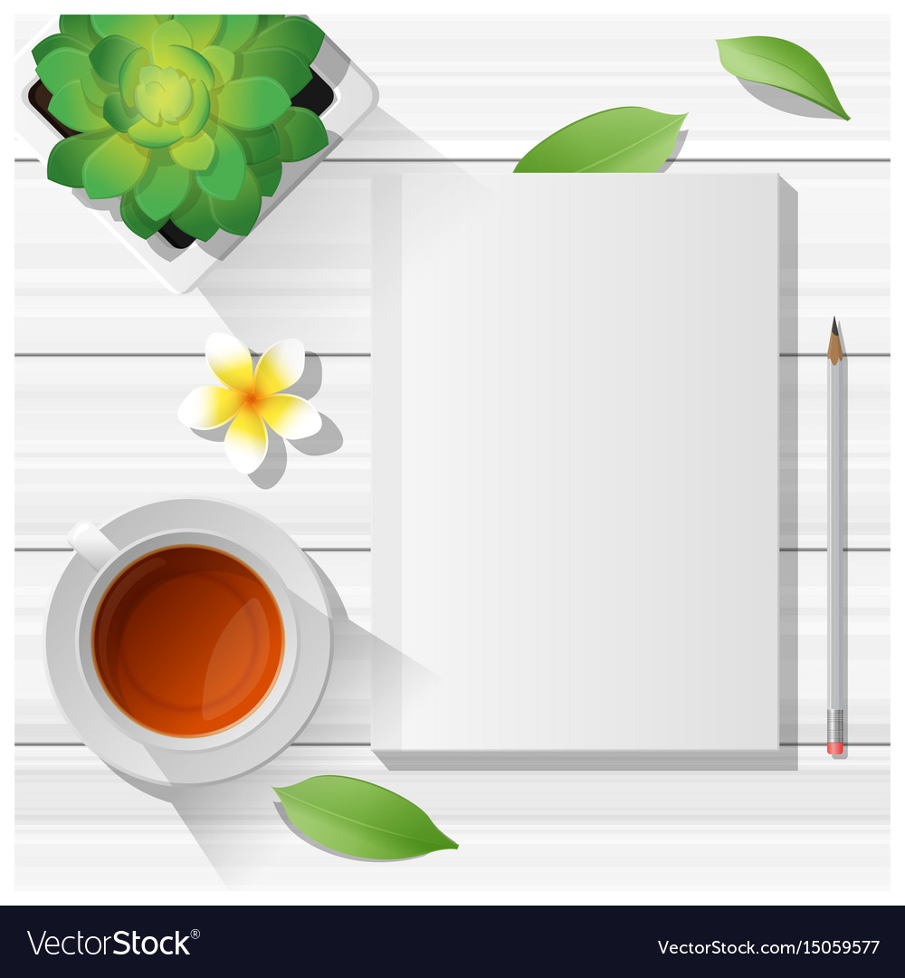 Summer scene with blank notebook on wooden table vector image