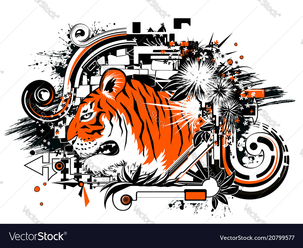 Tiger design orange