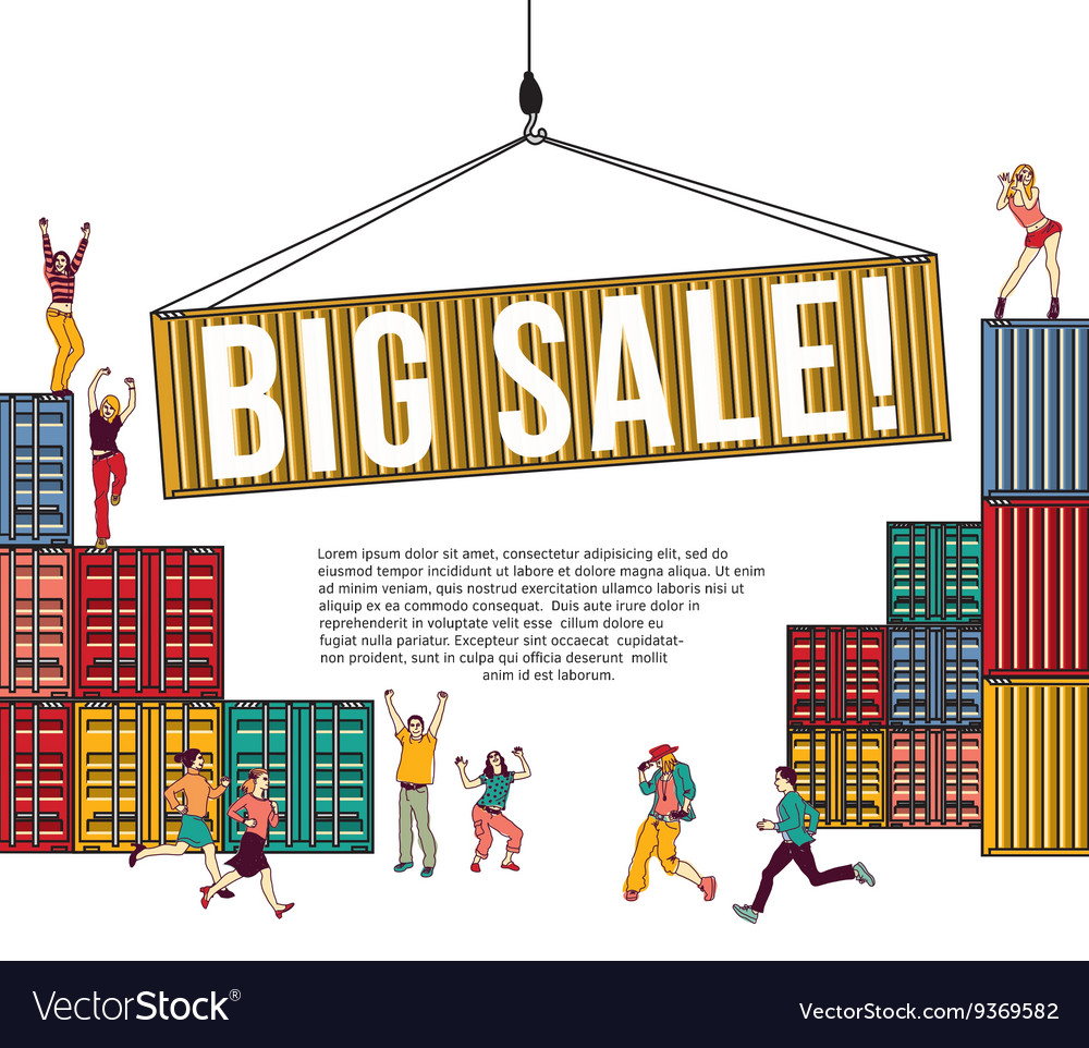 Big sale group happy people shopping container and