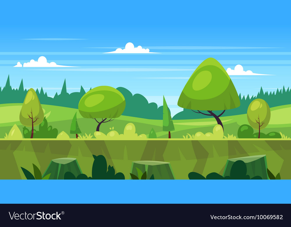 Cartoon nature seamless landscape with trees