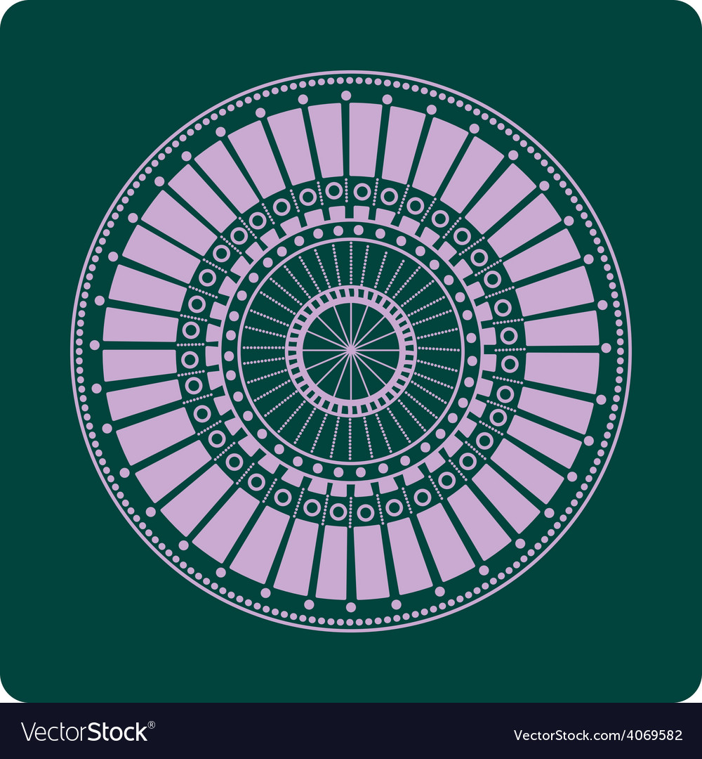 Celtic circular geometric floral pattern on a gree