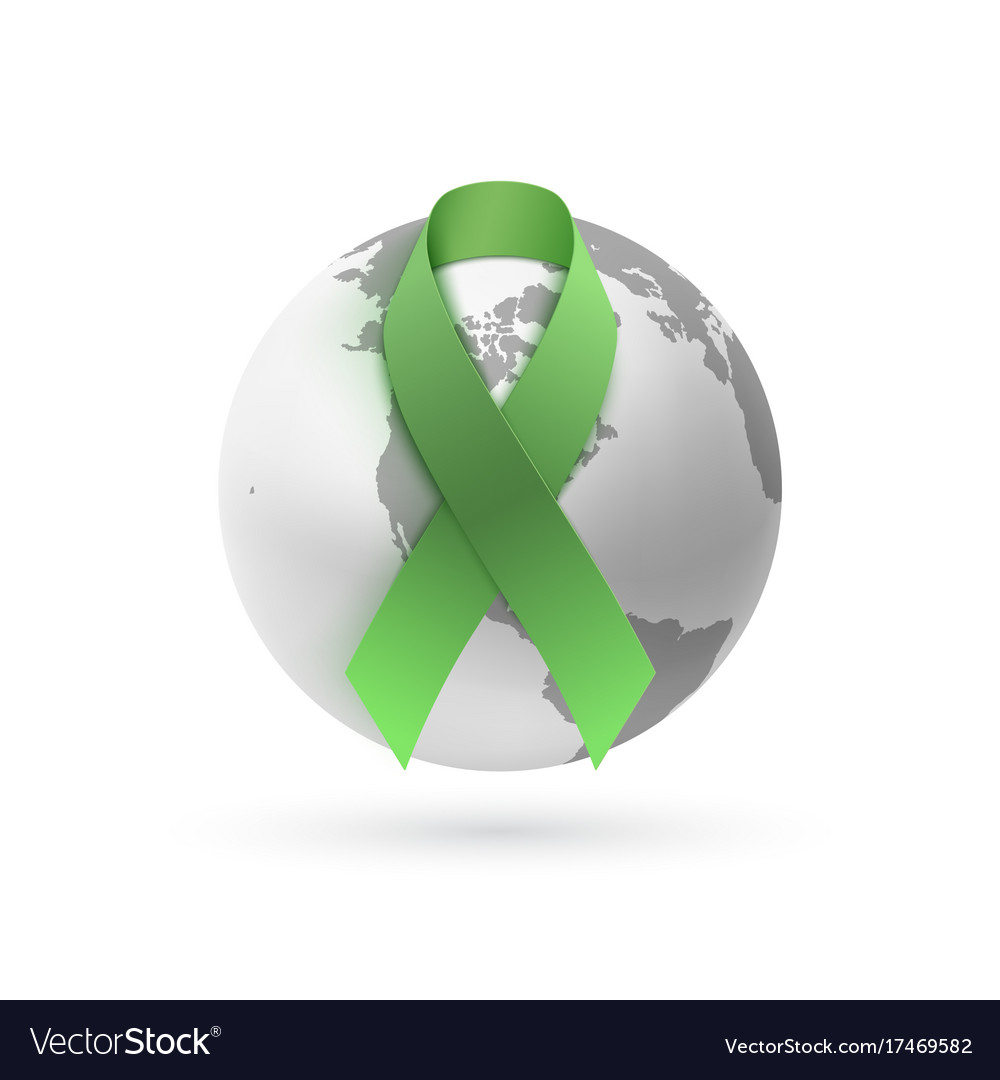 Green ribbon with monochrome earth icon on white vector image