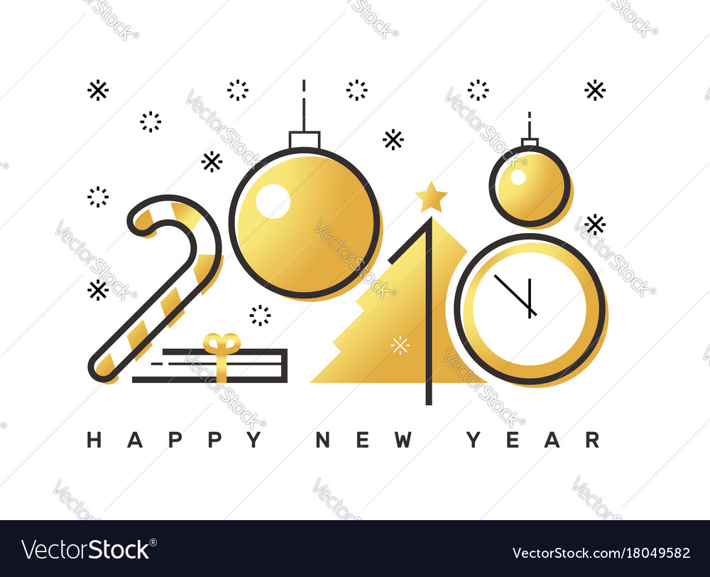 Happy 2018 new year flat thin line horizontal Vector Image
