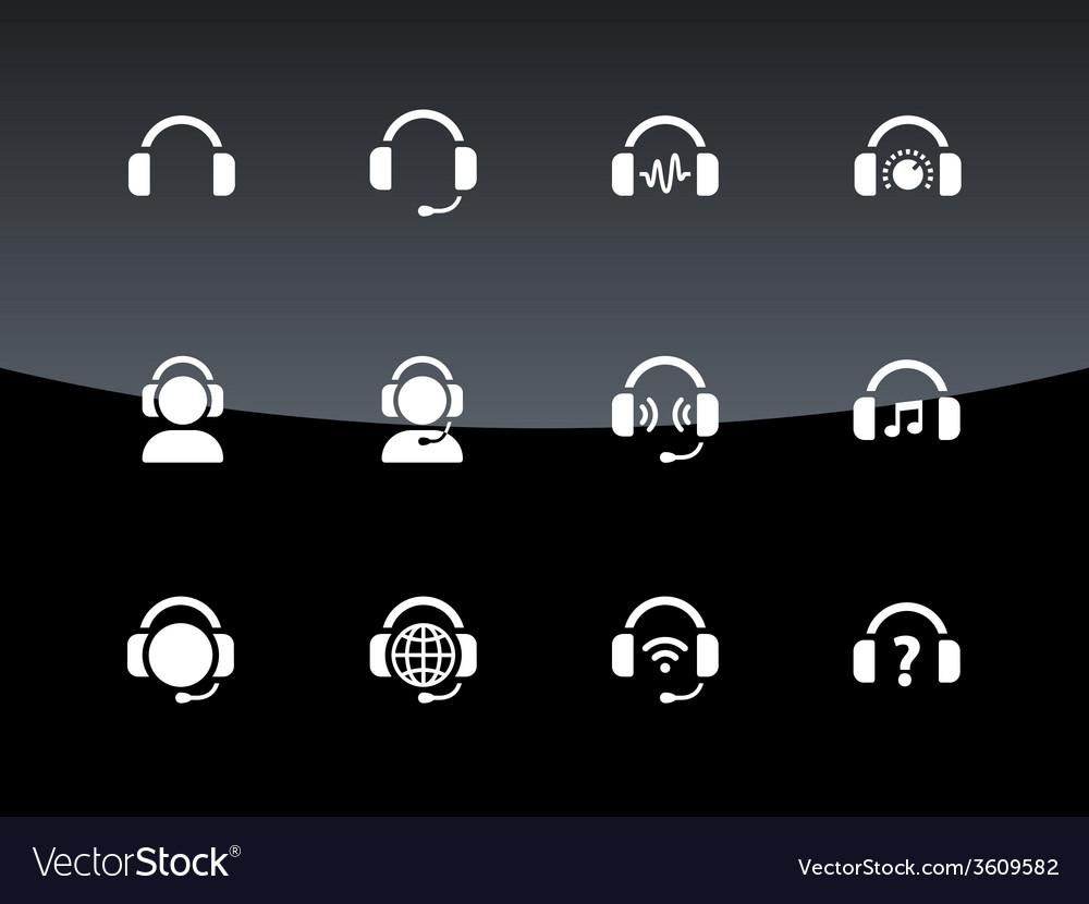 Headphones icons on black background