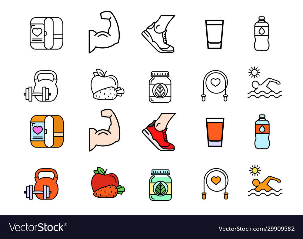 Healthy lifestyle colorful icons set image