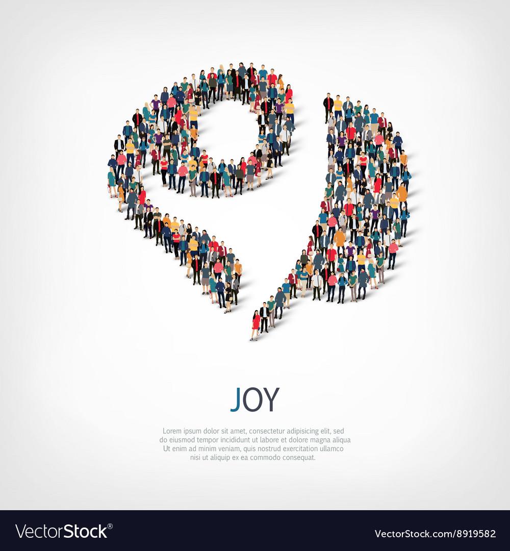 Joy people sign 3d