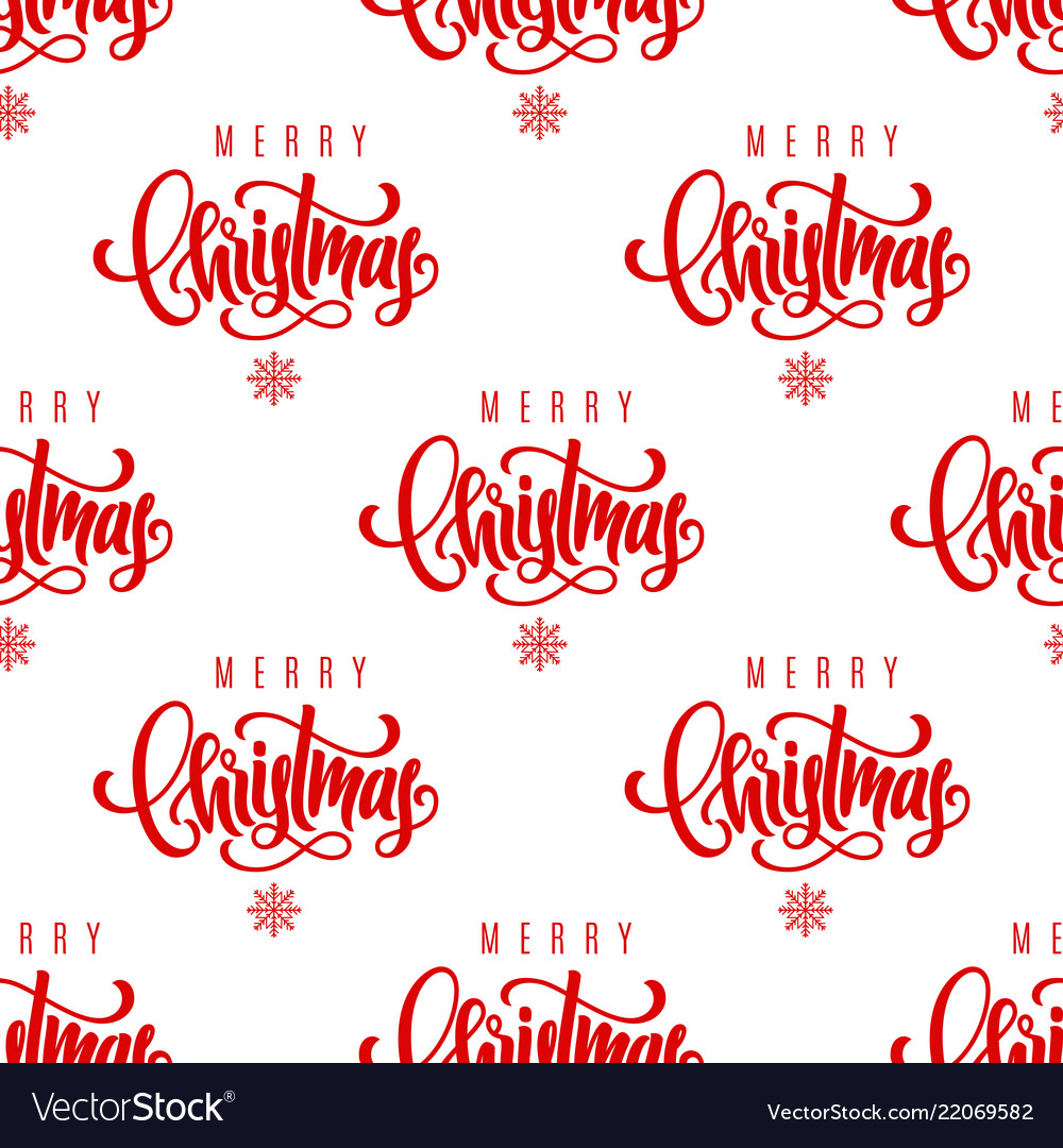 Merry christmas lettering seamless pattern