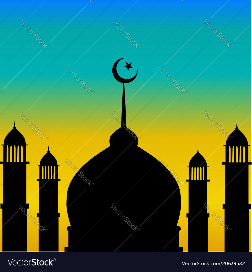 Mosque dome and minaret silhouette with moon durin