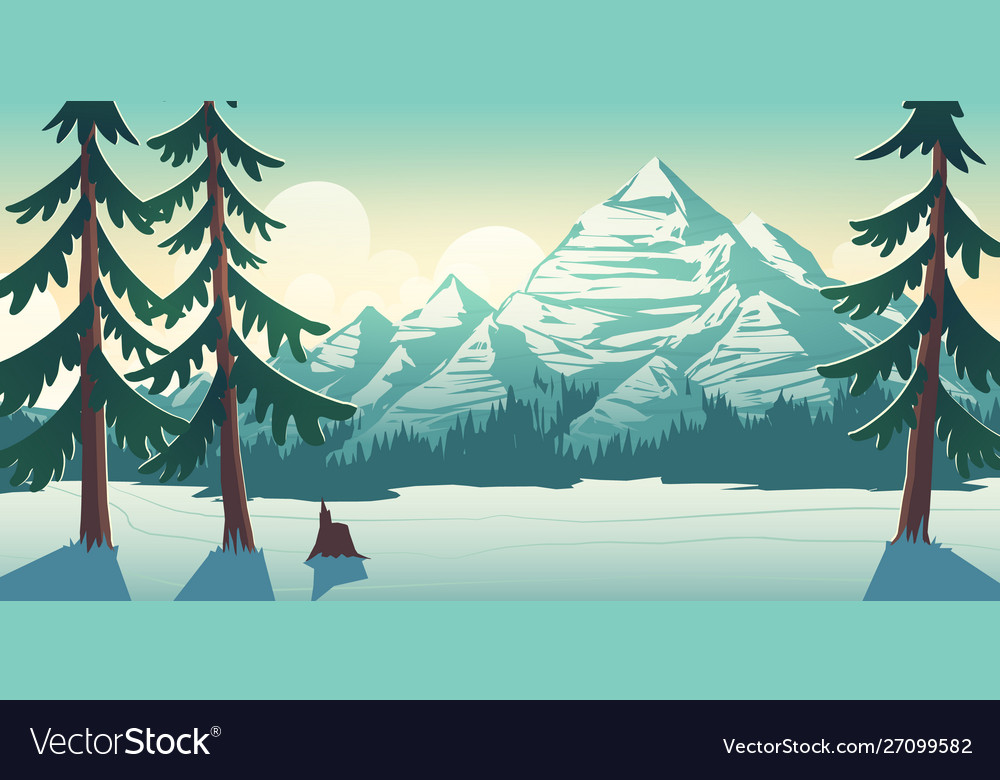 National park winter landscape cartoon
