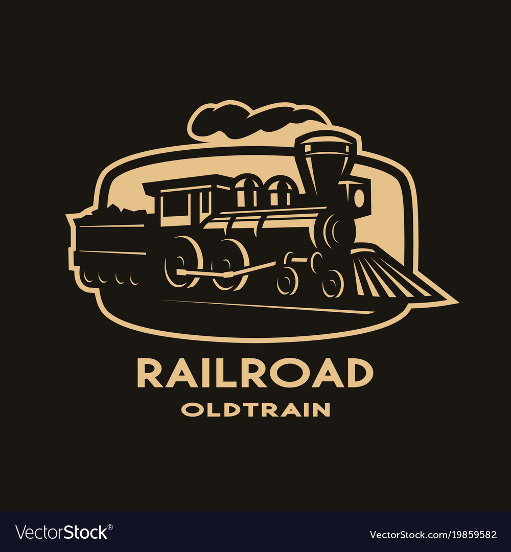 Old steam train emblem logo