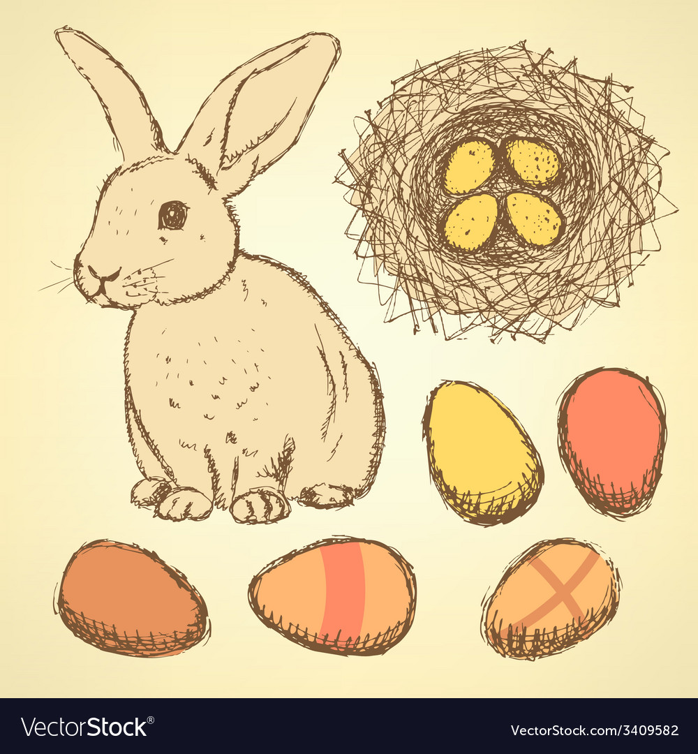 Sketch Easter set in vintage style vector image