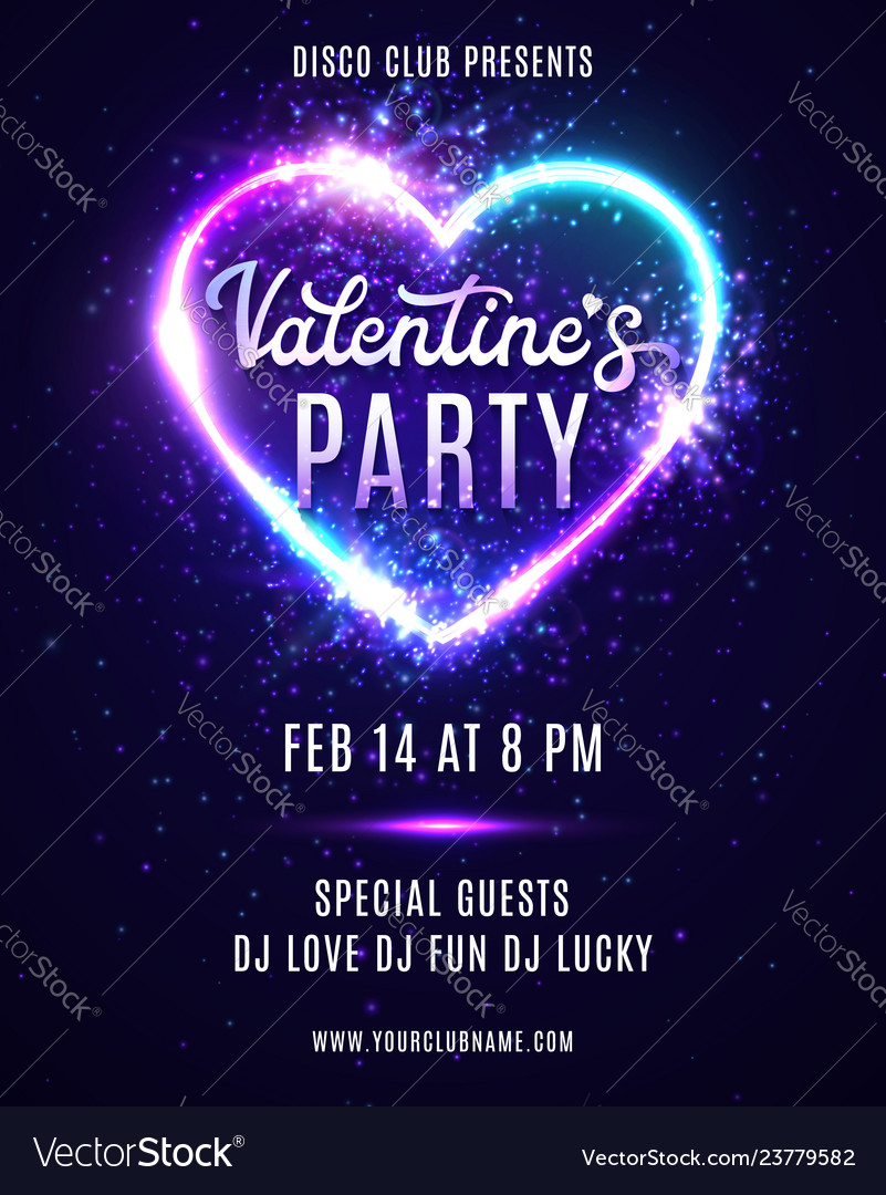 Valentines day party neon poster design template