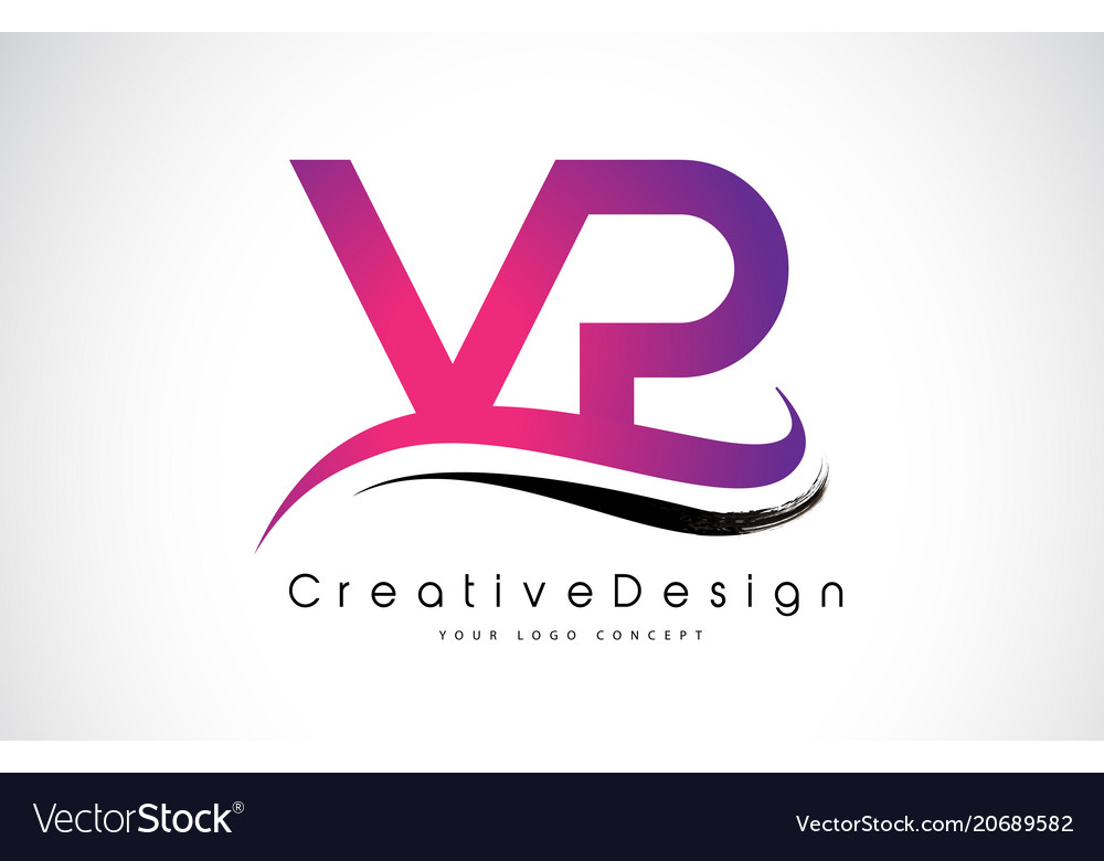 vp v p letter logo design creative icon modern vector image