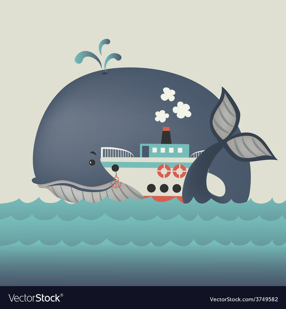 Whale and steamship in blue sea vector image