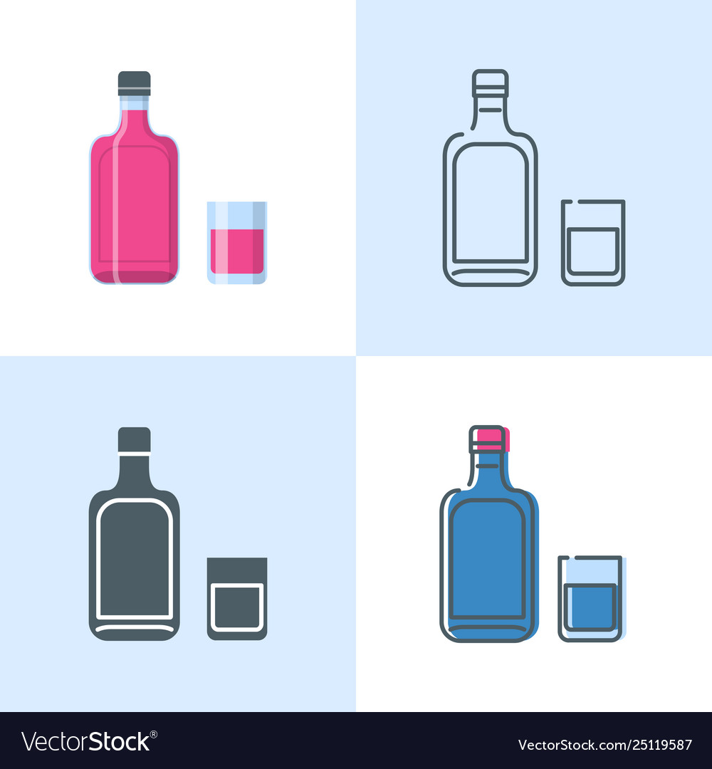 Alcohol bottle and glass icon set in flat and line