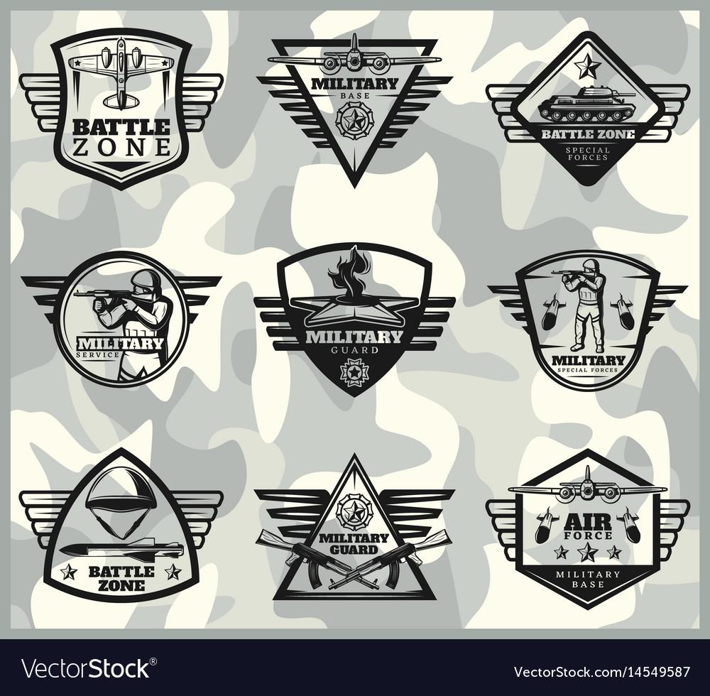 Black vintage military labels set vector image