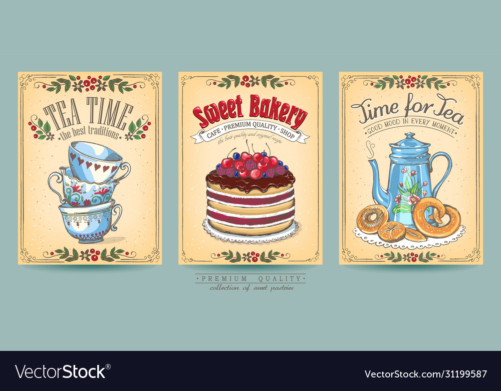 Card collection hand-drawn cakes vintage