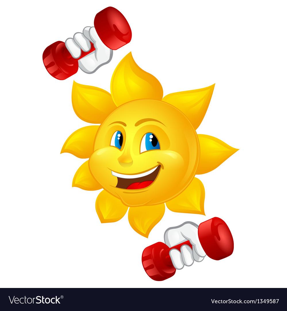 Cartoon sun with dumbbells