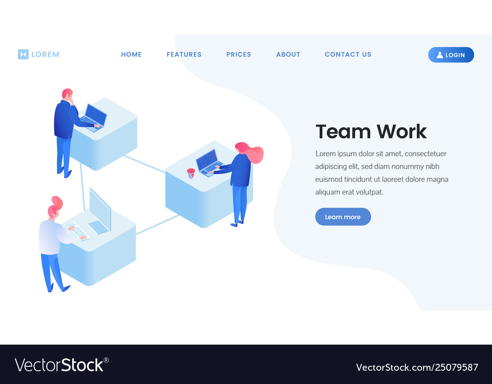 Colleagues team work isometric landing page