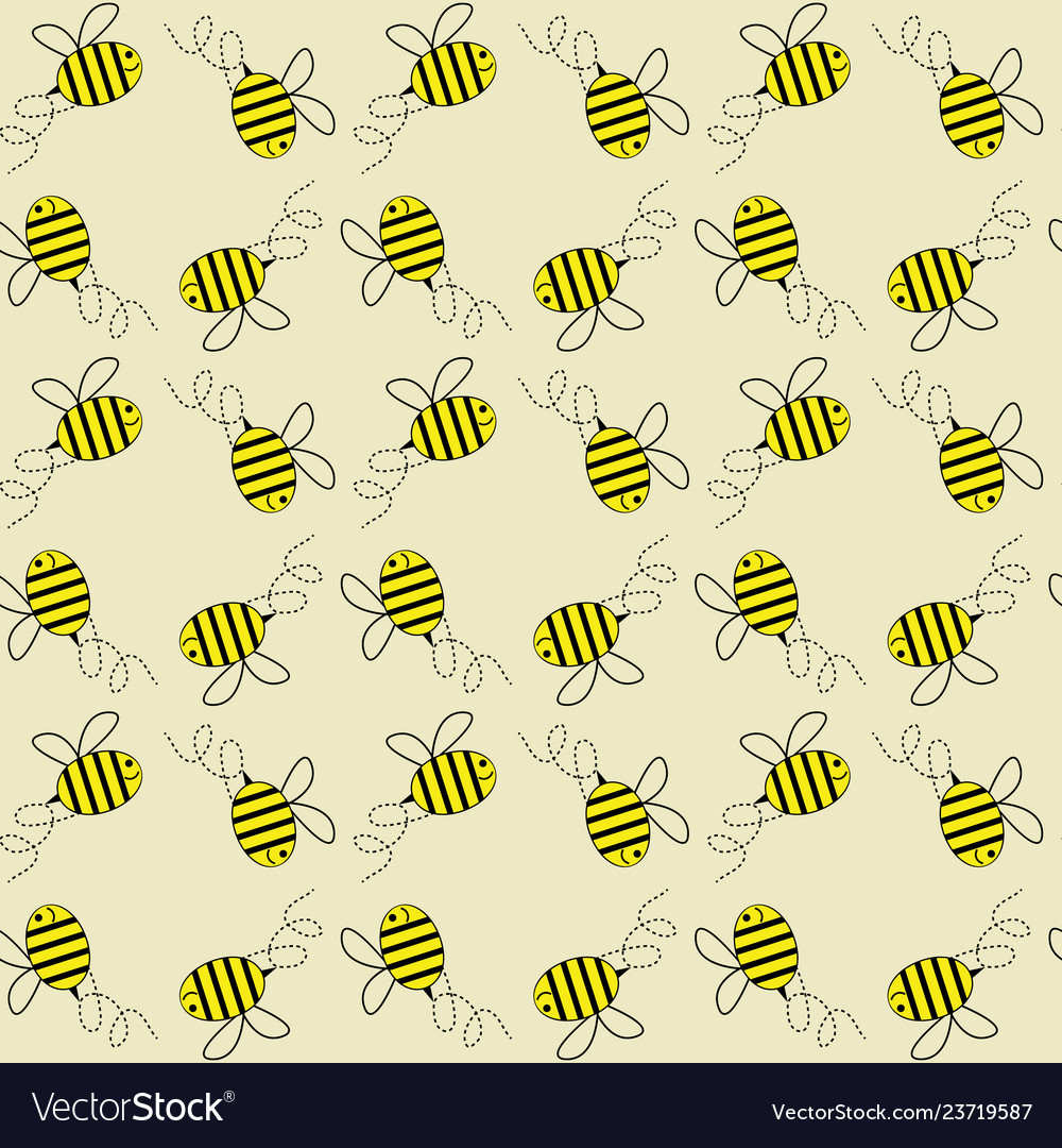 Flying honey bees seamless pattern