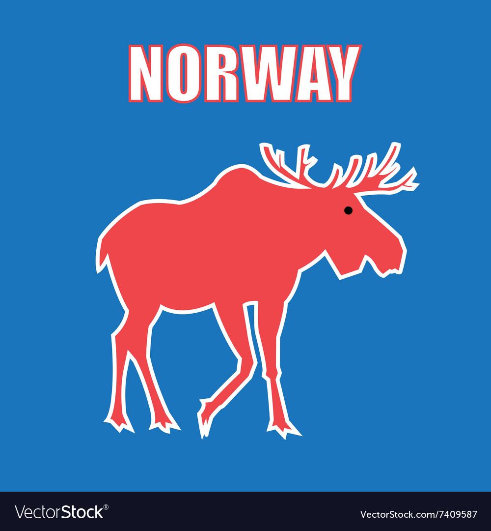 Graphic color design a symbol Norway elk