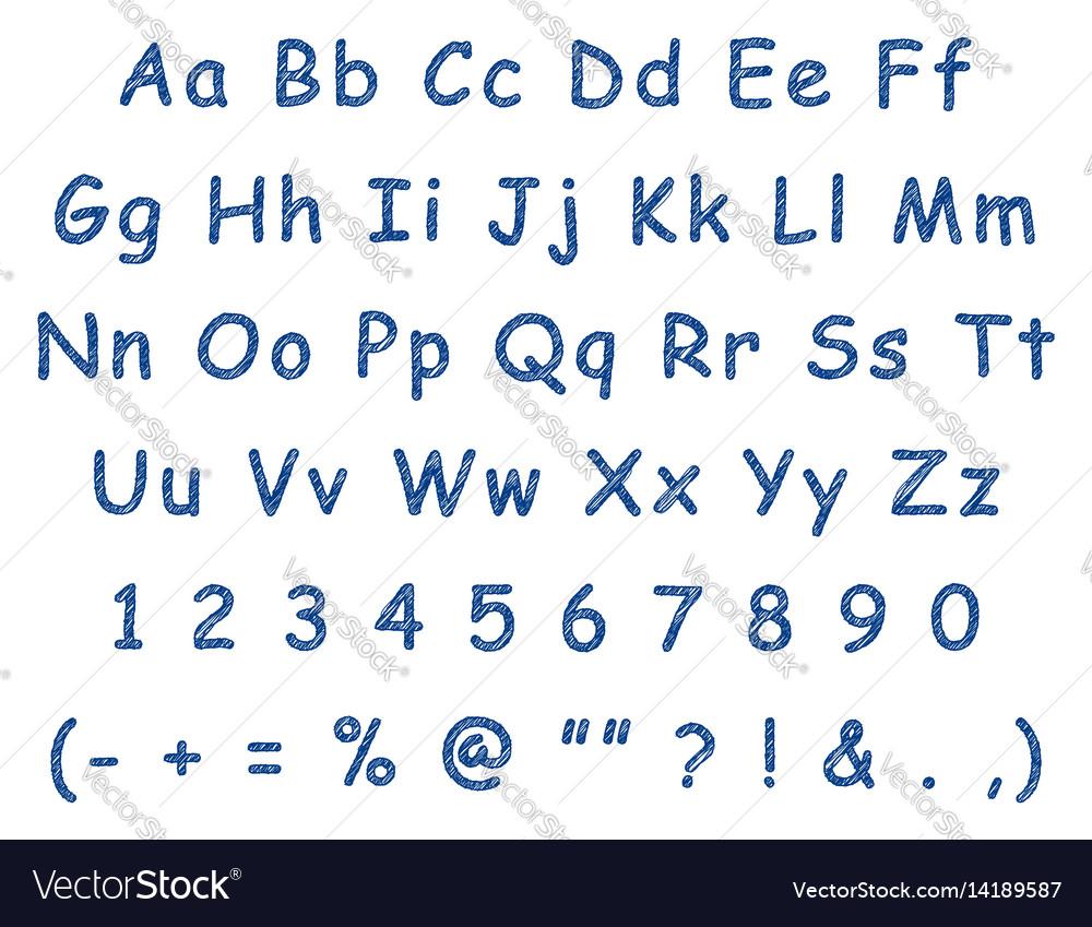 Handwritten Letters English Alphabet Blue Pen Vector Image