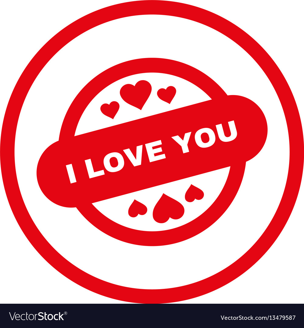 I love you stamp seal rounded icon