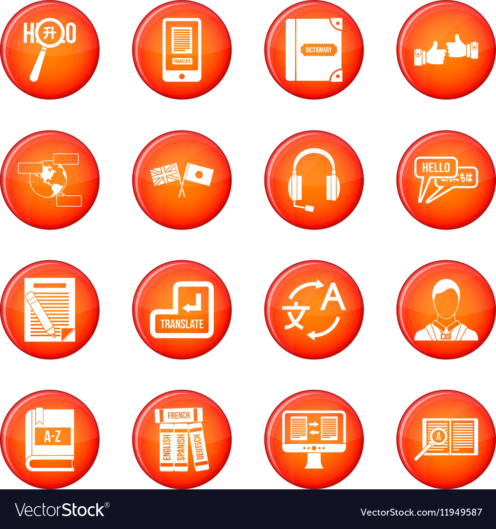 Learning foreign languages icons set