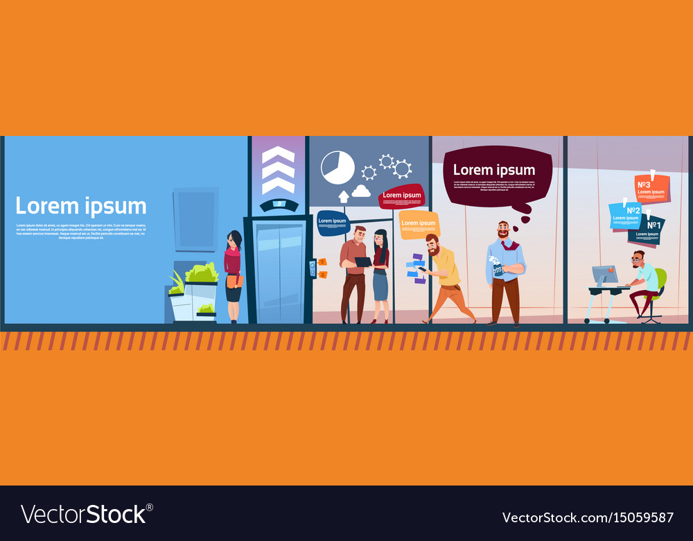 Modern office business people group working vector image