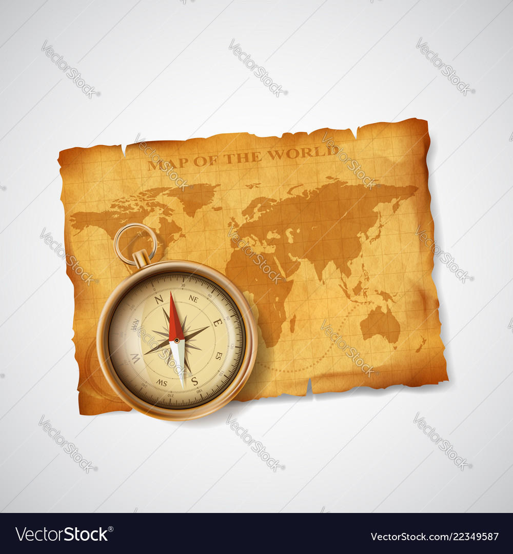 Old vintage antique world map and compass