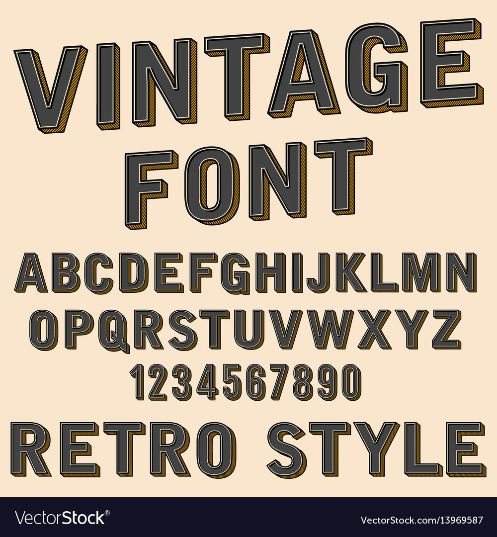 Retro 3d alphabet and number sign old typography
