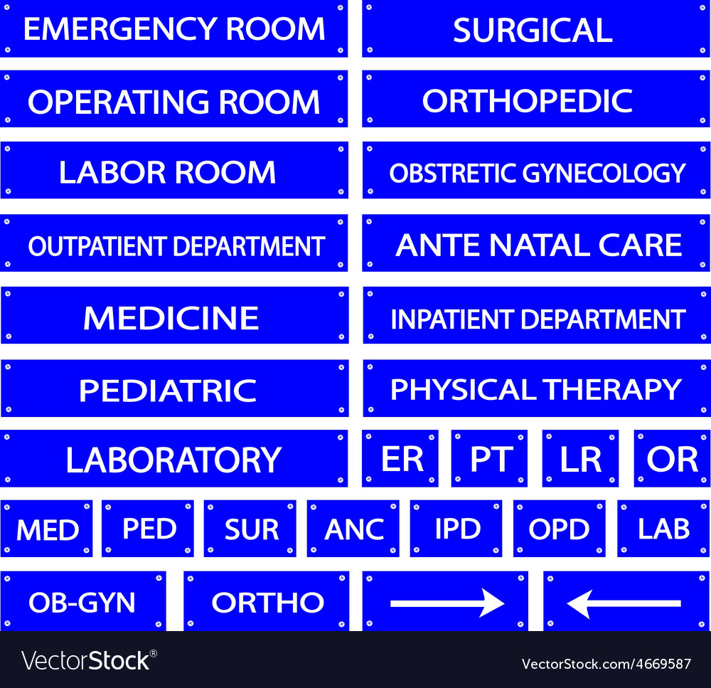 Set of Blue Hospital Sign and Medical Abbreviation