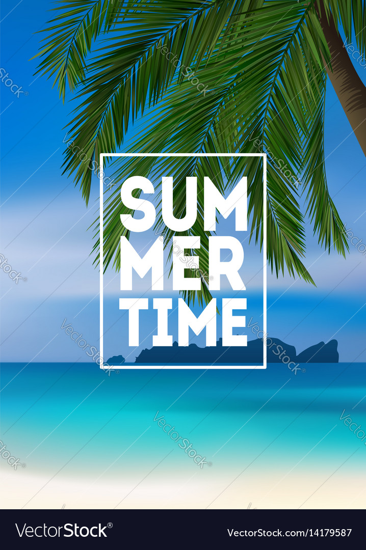 Summer tropical background with palms sea and