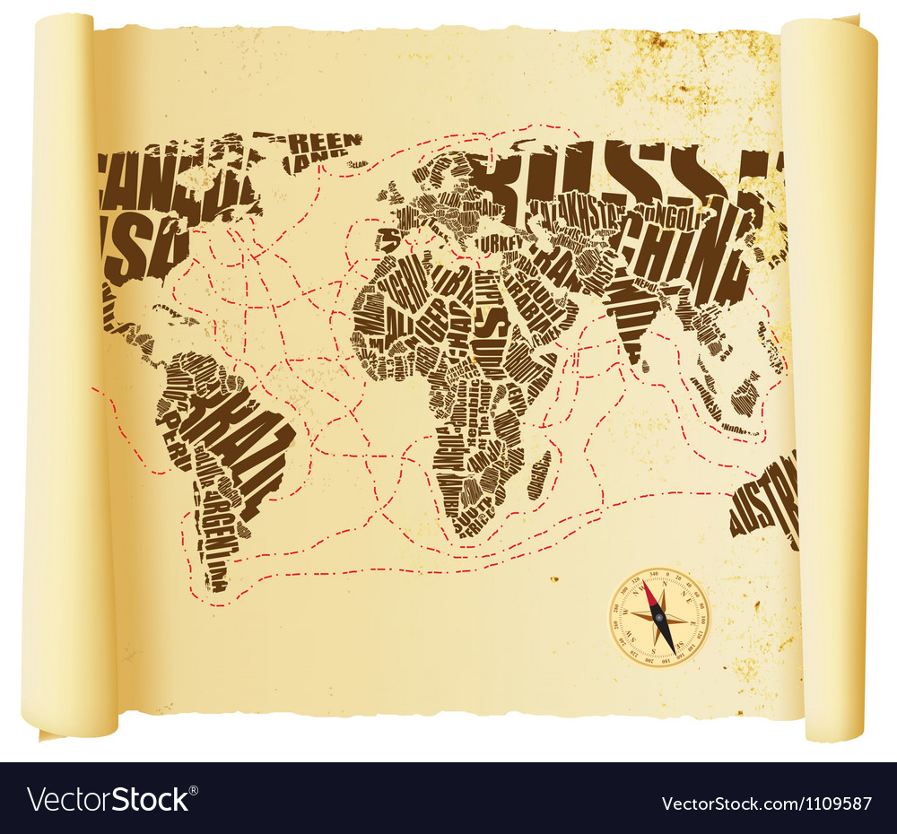 World map drawn by typography vector image