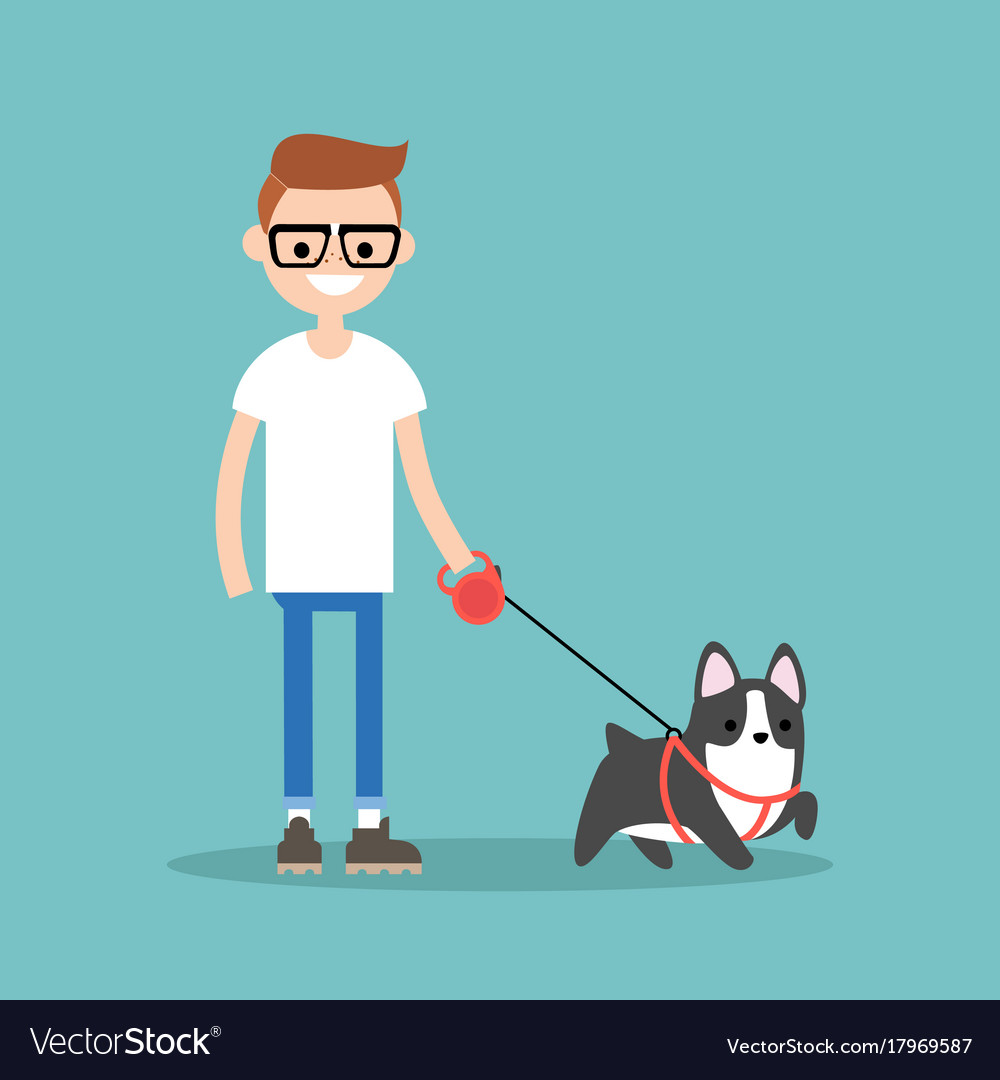 Young smiling nerd walking the dog flat editable