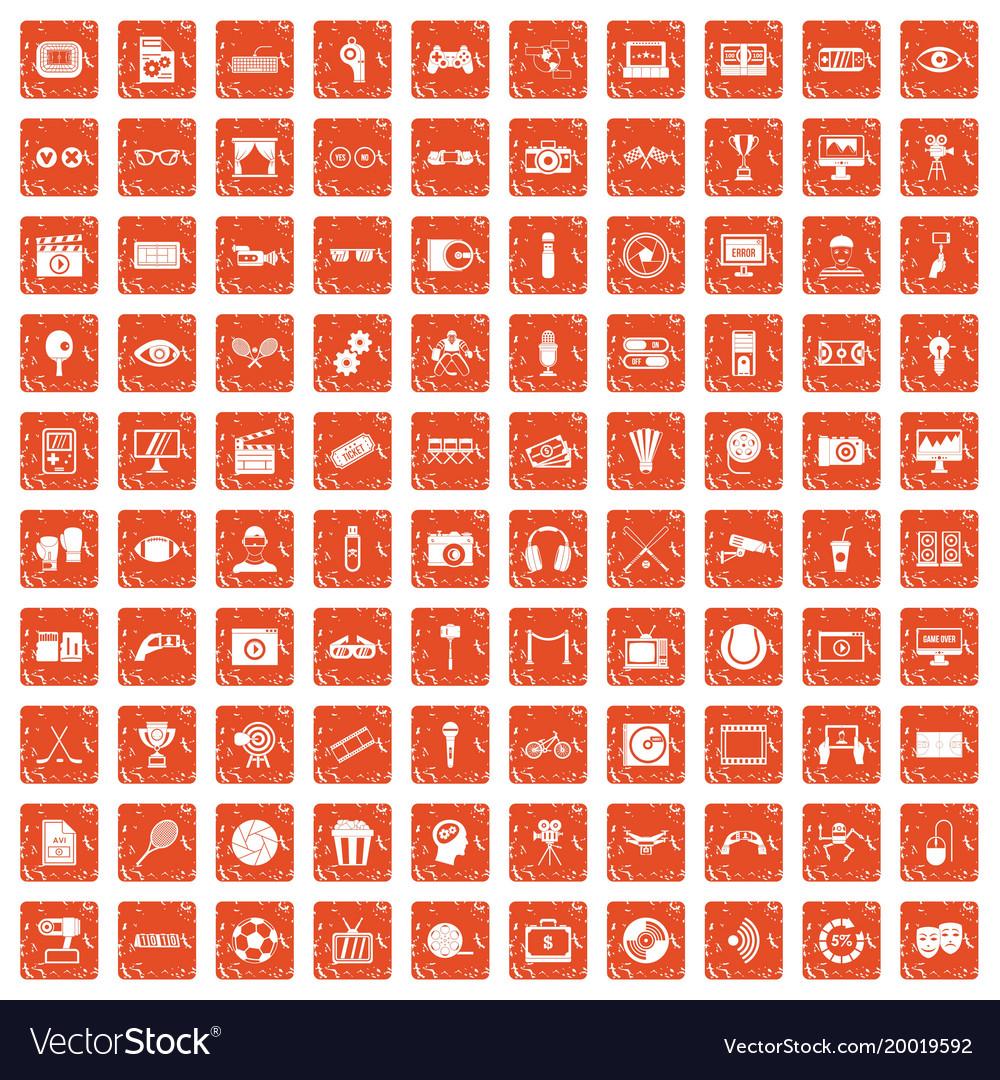 100 video icons set grunge orange