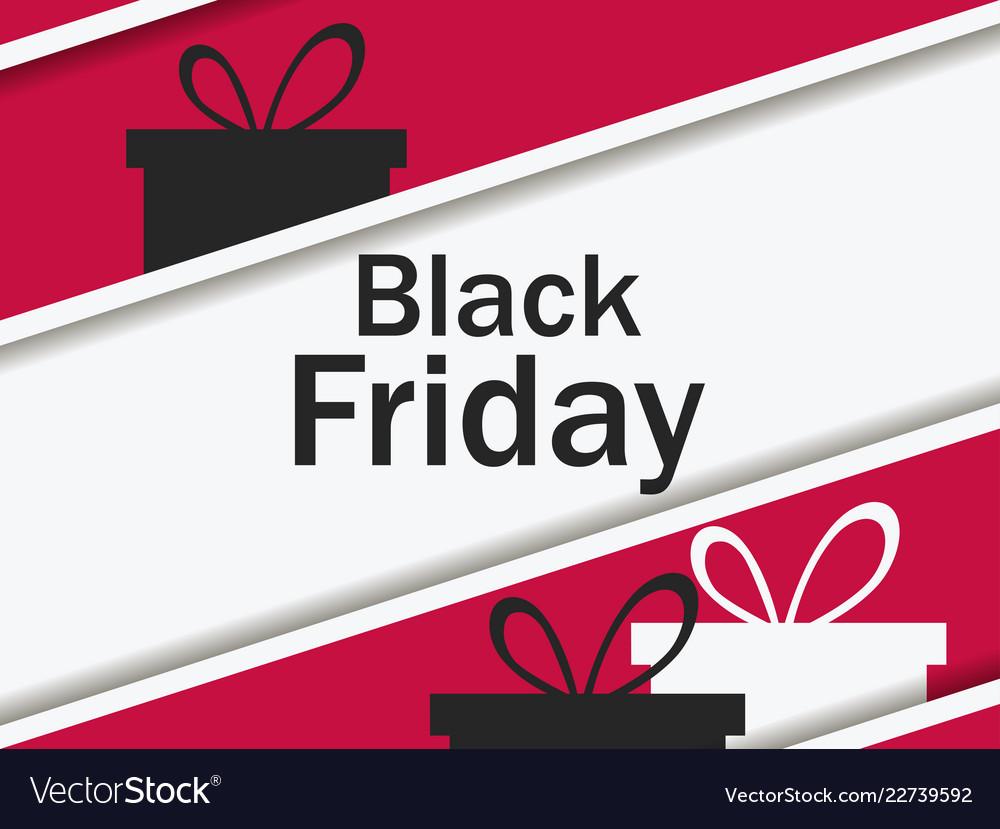 Black friday gift box and ribbon with shadow big