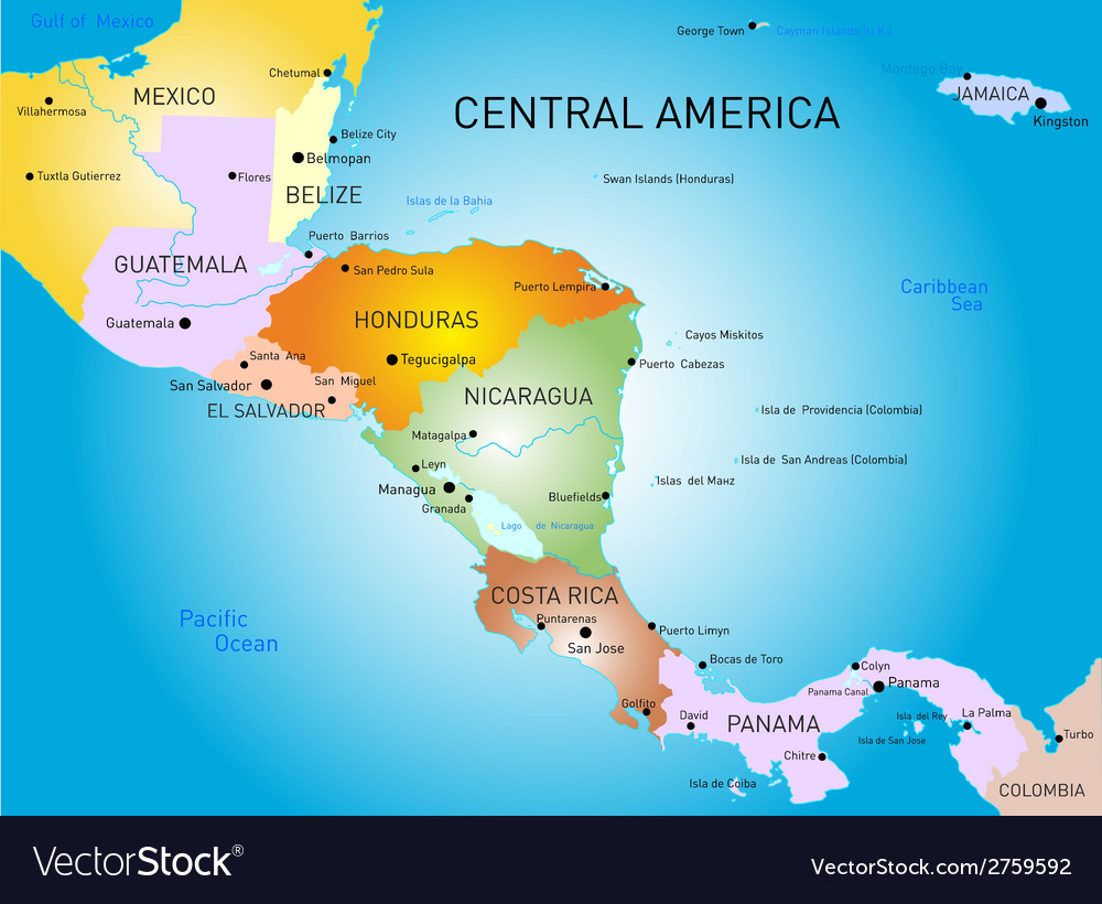 Central america map Royalty Free Vector Image   VectorStock