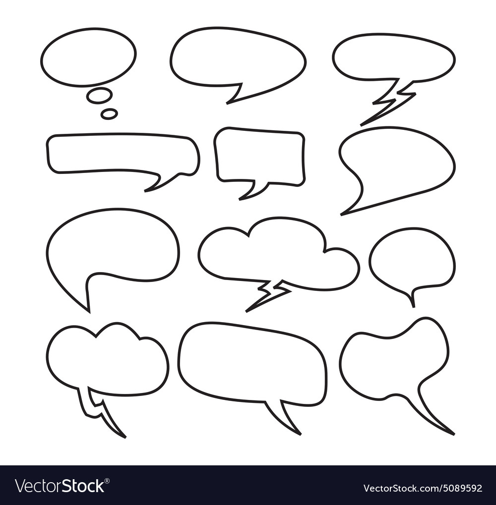 Cloud speech bubble set2