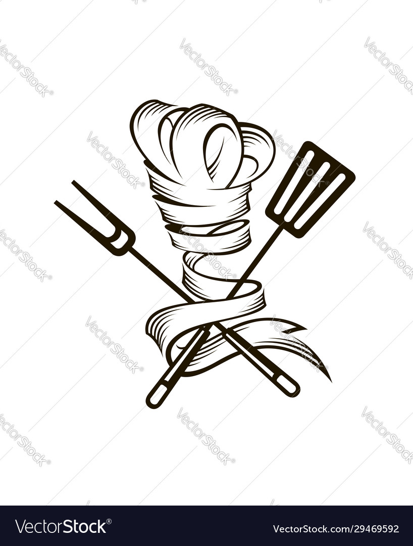 Crossed spatula fork and chef hat