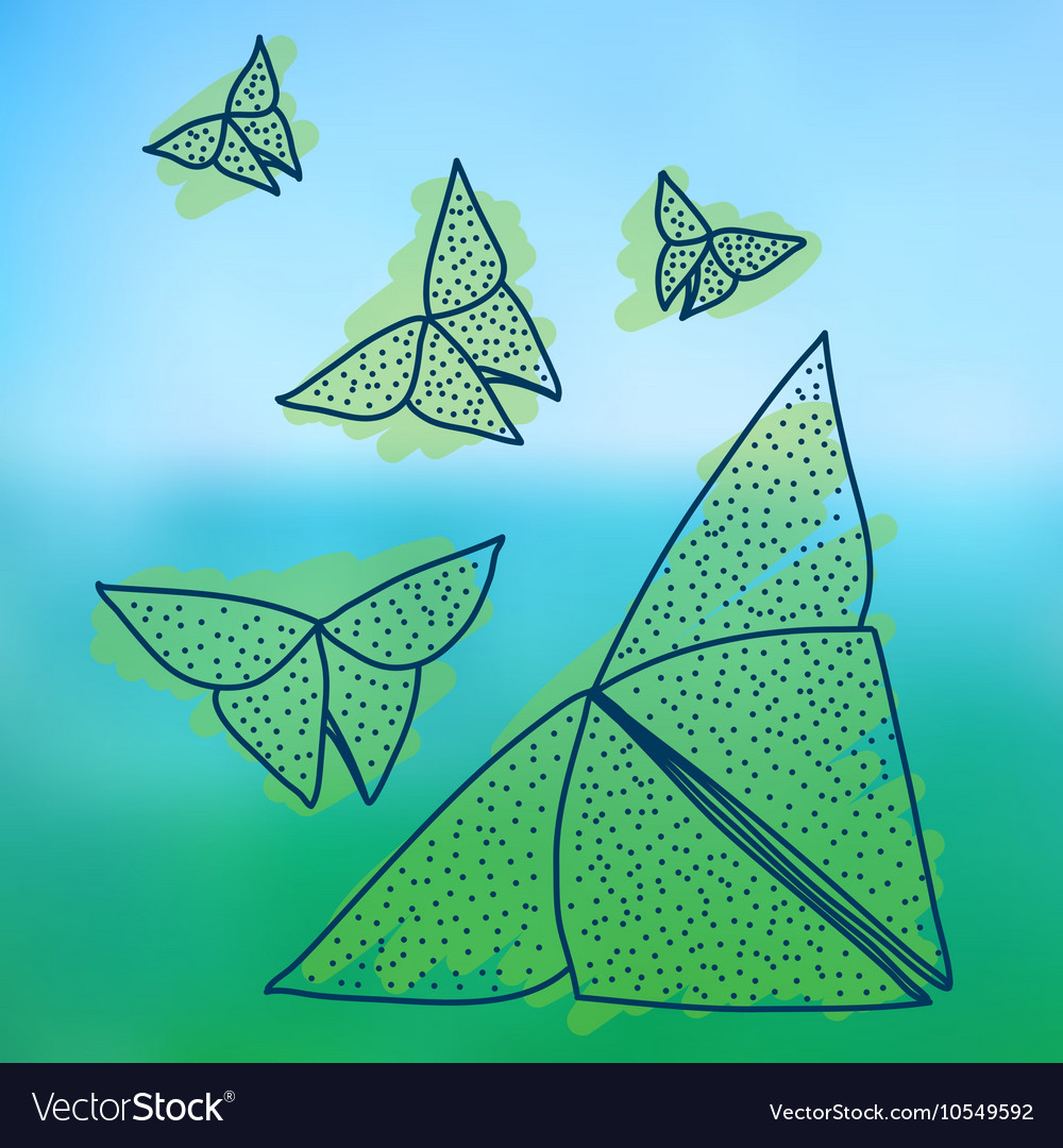 Drawing of origami butterflies in hairline style