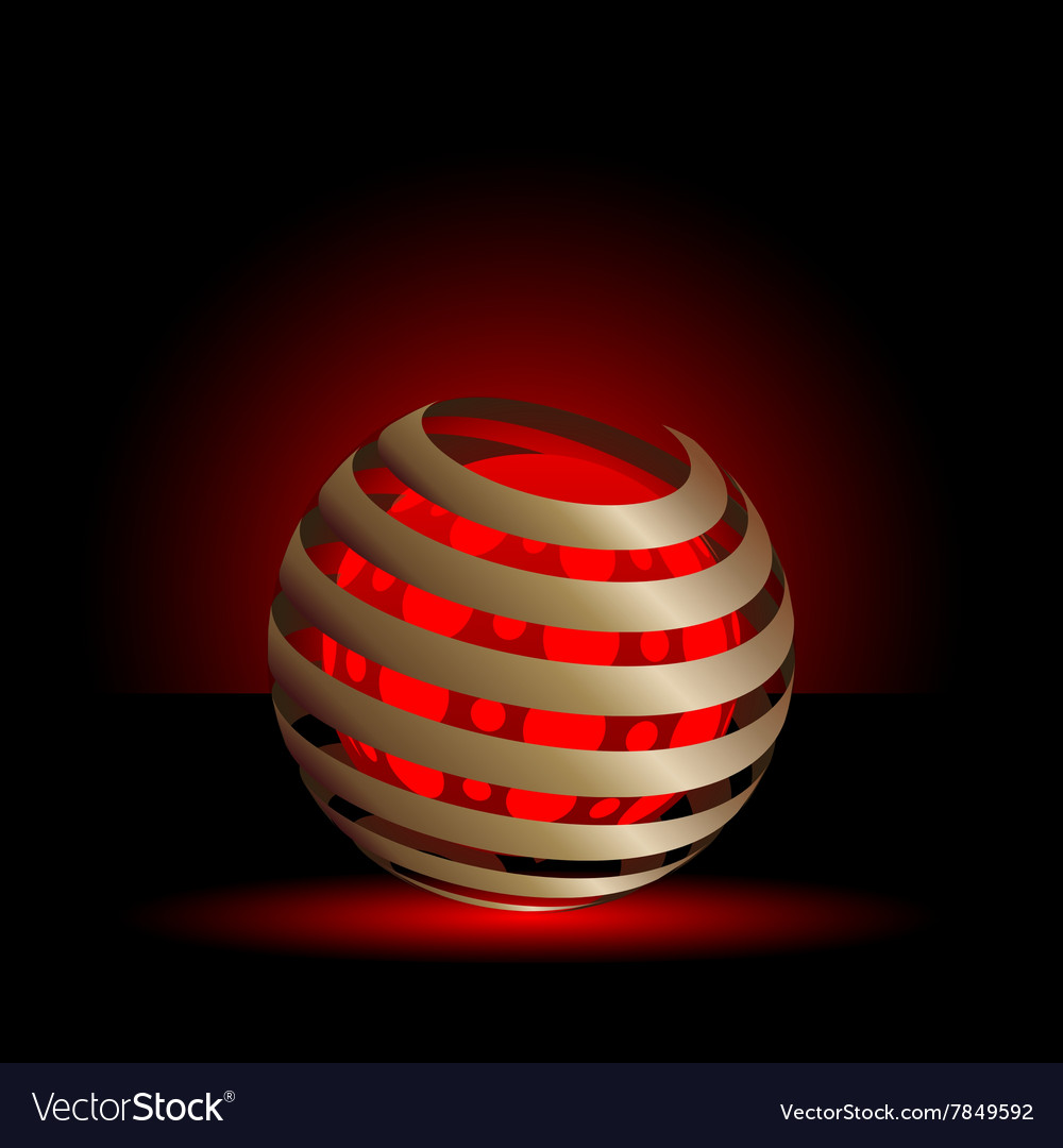 Gold spiral with red light balls background