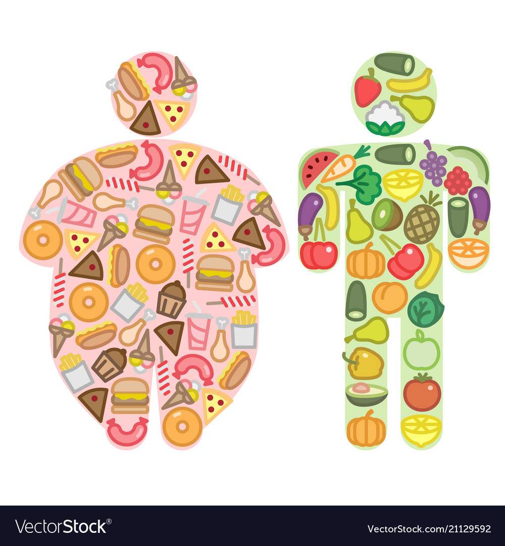 Healthy and junk food and human silhouettes